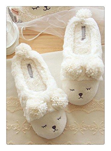 Always Pretty Winter Lovely Lamb Plush Soft Slippers For Women Indoor Slipper White£¨low£© H6so0B3MT1