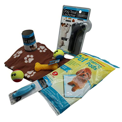 - New Puppy Starter Kit | Includes Pee Pads for Dog's Potty Training, Bone & Tennis Ball Toys, Fleece Blanket, Treat Launcher w/ Spring Action Trigger | For Small, Medium & Large Breeds, Pet Gift Set