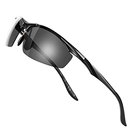 a4358797e0 Amazon.com  Glazata Mens Sunglasses Polarized Driving Eyewear with 100% UV  Protection Glasses for Golf Cycling Fishing Outdoor Activities (Black)   Home ...
