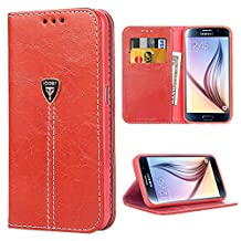 Case S6 Wallet , Galaxy S6 Flip Case Luxury Slim Fit Magnetic Leather Flip Purse with Credit Card ID Holders for Samsung Galaxy S6 Red