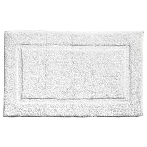 mDesign Soft 100% Cotton Luxury Hotel-Style Rectangular Spa Mat Rug, Plush Water Absorbent, Decorative Border - for Bathroom Vanity, Bathtub/Shower, Machine Washable - Pack of 2, White by mDesign (Image #5)