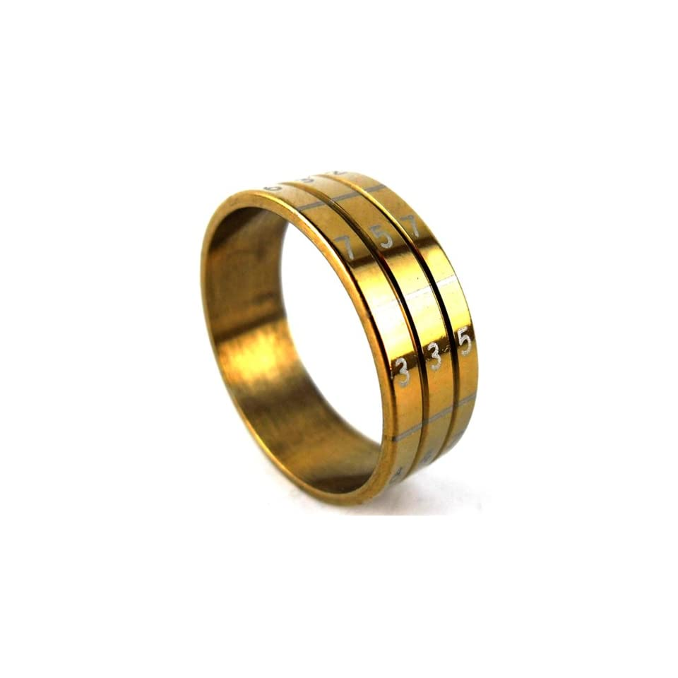 Thaipradub Jewelry Love Gold Number Stainless Steel Ring for Men, Gold Size 7.5