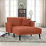 """Casa Andrea Upholstered Linen Fabric Recliner Futon Sectional Sofa, 60"""" W inches (Rust)"""