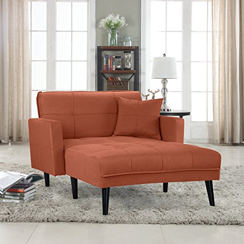 Divano Roma Furniture Modern Linen Fabric Recliner Futon Chaise Lounge - Futon Sleeper Single Seater (Orange)