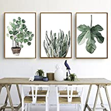 Green Plant Series Canvas Print, Wall Art, Poster, Airbnb Home Decor. Sofa / Cafe / Office / Hotel Painting, Housewarming Gift. 3pcs. Unframed. (30 x 40 cm / 11.8 x 15.7 in)