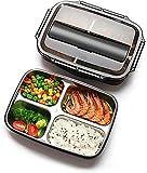 Salandens Almuerzo Portátil Inoxidable,Bento Caja de acero Contenedor Alimentos Compartimiento Calienta Comida Fácil…