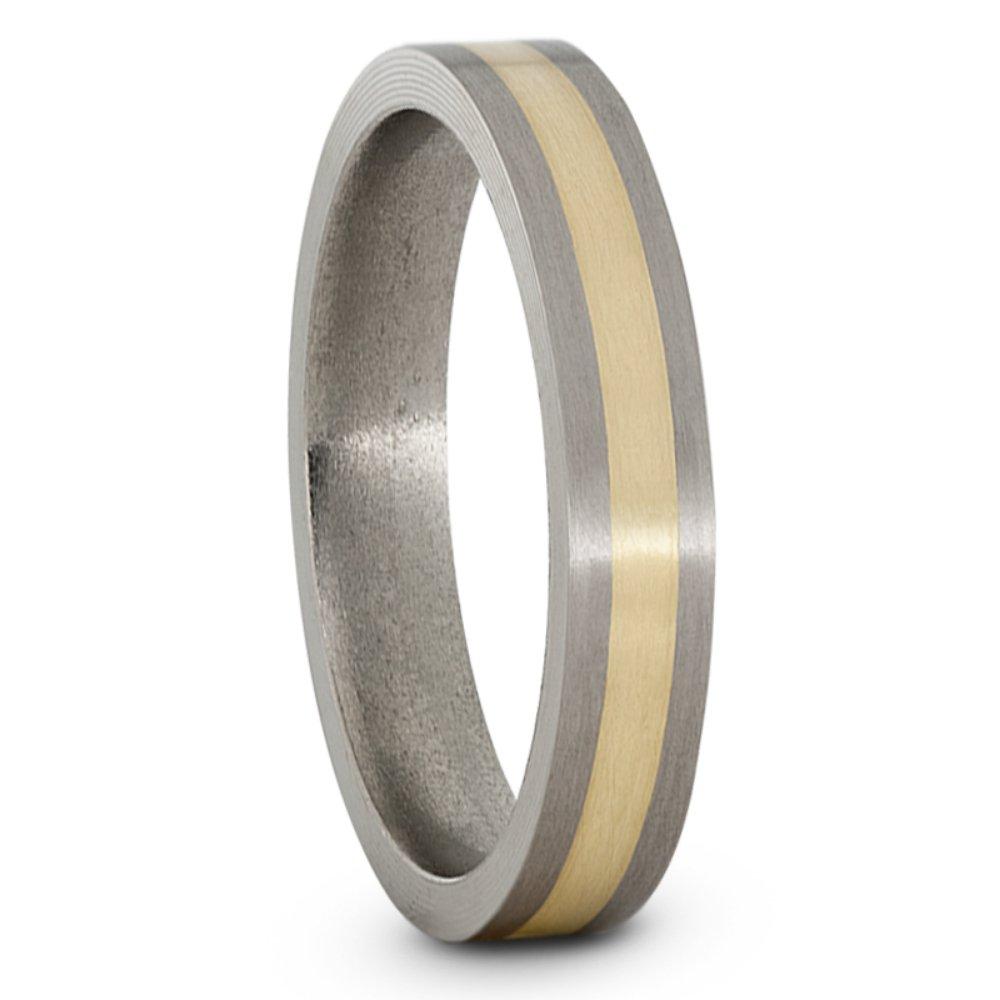 14k Yellow Gold Inlay 4mm Comfort-Fit Satin Titanium Wedding Band, Size 14.5