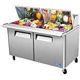Turbo Air MST-60-24 Refrigerated Prep Table, 24 Pan, Two Door, 19 cu ft