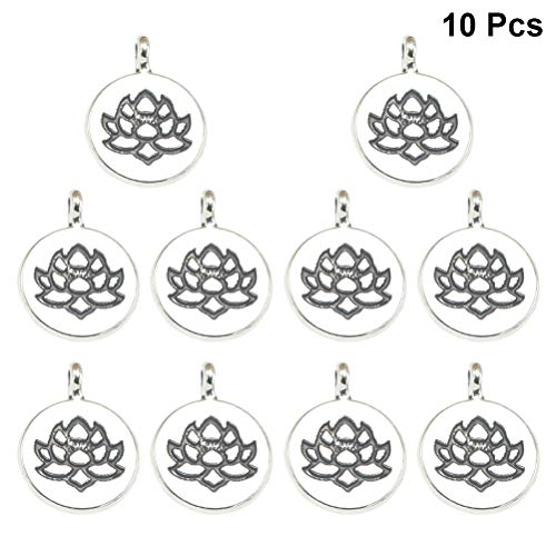 TENDYCOCO Double-Sided Lotus Flower Pendants Charms DIY Jewelry Making Accessory for Necklace Bracelet 10PCS (Antique Silver)