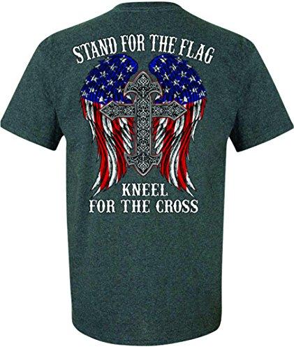 Patriot Apparel Kneel The Cross Stand The Flag Patriotic T-Shirt (Medium, Dark ()