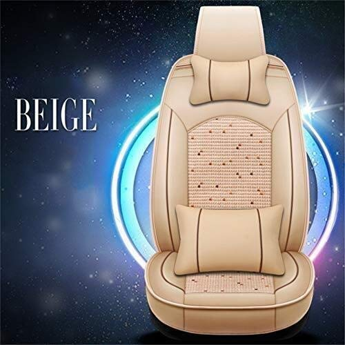 HL-TD Car Seat Cushions Full Set PU Front&Rear Seat Cover Anti-Slip Deluxe Automotive Cushions Seat Universal 5 Seats Cars Durable (Color : Beige)