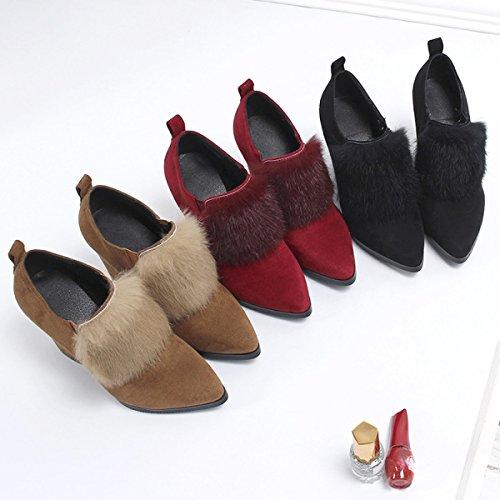 Nuevo Consejo Zapatos Botas Cómodo Moda Color Elástico Botas Felpa Mujeres Otoño E Black De Casual Invierno Sólido 1XRTnqX