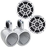 Wet Sounds XS-650-S 6.5 100 Watt RMS Coaxial Marine Speakers w/ Kicker KMTES White Tower/Roll Bar Enclosures
