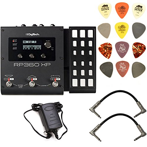 Digitech Chromatic Tuner - Digitech RP360XP Multi-Effects Pedal Bundle with 2 Patch Cables and Dunlop PVP101 Pick Pack