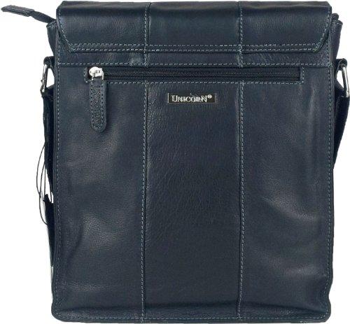 UNICORN Vera Pelle ipad, Ebook o Tablets Borsa Nero Messenger Bag #4E