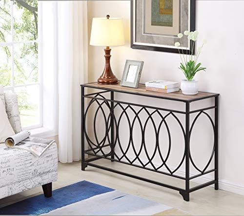 Reclaimed Oak Finish Metal Black Circle Design Console Entryway Sofa Table