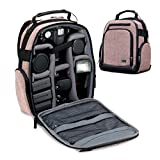 Portable Camera Backpack for DSLR/SLR (Brown) by USA Gear with Customizable Accessory Dividers, Weather Resistant Bottom, Comfortable Back Support for Canon EOS T5 / T6 - Nikon D3300 / D3400 & More