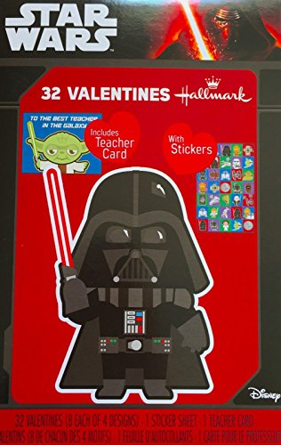 Star Wars 32 Valentines with Teacher Card and Sticker Sheet.