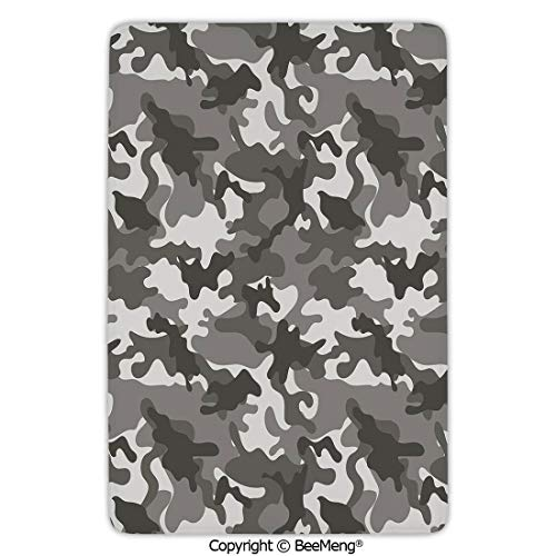 (Mat Non-Slip Soft Entrance Mat Door Floor Rug Area Rug for Chair Living Room,Camouflage,Monochrome Army Attire Pattern Camouflage Inside Vegetation Military Equipment Decorative,Grey Coconut,16 x 24)
