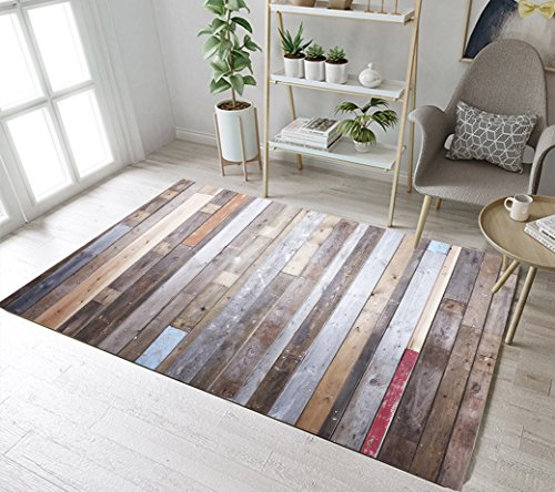Vintage Wood Panels Pattern Print Area Rug by LB, Primitive Rustic Country Farm Design Decorative Rug for Living Room, Non Toxic Healthy Soft Flannel Rug (Panel Pattern Rug)