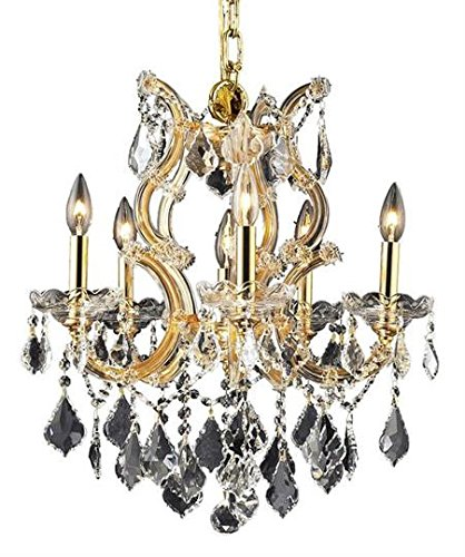 - Karla Gold Traditional 6-Light Hanging Chandelier Swarovski Spectra crystal in Crystal (Clear)-2380D20G-SA--20