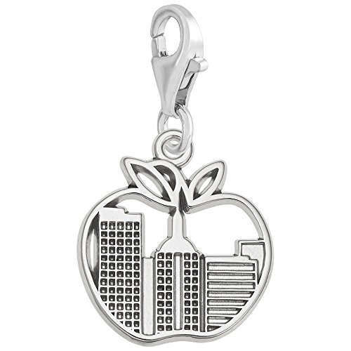 Sterling Silver New York Skyline Charm With Lobster Claw Clasp, Charms for Bracelets and Necklaces New York Sterling Silver Charm