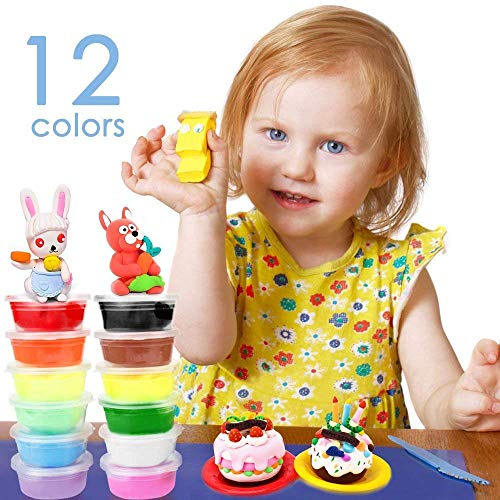 AFU Air Dry Clay DIY Educational Toys for Kids, 12 Colors Set of Super Light Clay Creative Art DIY Crafts Non-Sticky and Non-Toxic Magic Clay