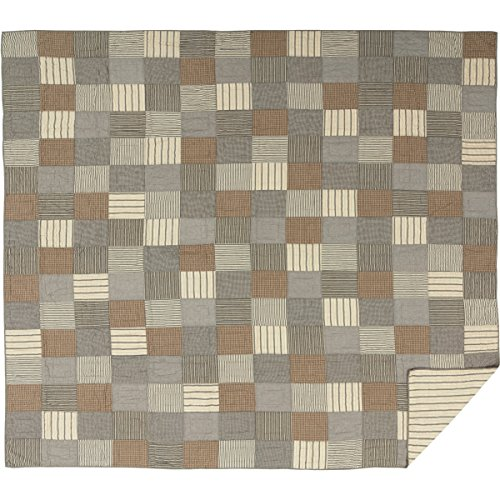 VHC Brands Farmhouse Bedding Miller Farm Charcoal Cotton Pre-Washed Patchwork Chambray California King Quilt, Grey