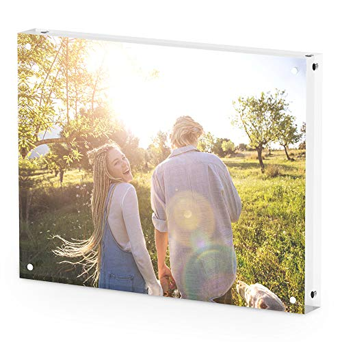 (T ATHINK 8x12 Magnetic Acrylic Picture Frame, Crystal Clear & Free Standing & Double Side Desktop Photo Frame, 15+15 mm)