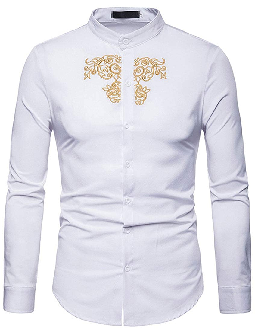 NatrE Mens Standing Collar Vintage Long Sleeve Court Style Embroidery Shirt