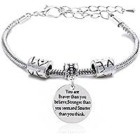 Lauhonmin Adjustable Bangle You're Braver Stronger Smarter than you think Bracelet Family Friend Gift for Women Men