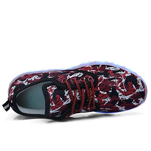 Scarpe Accese A Led Per Uomo Donna E Bambino Caricabatterie Usb Lampeggianti Luminose Sneakers Luminose Camouflage-rosse