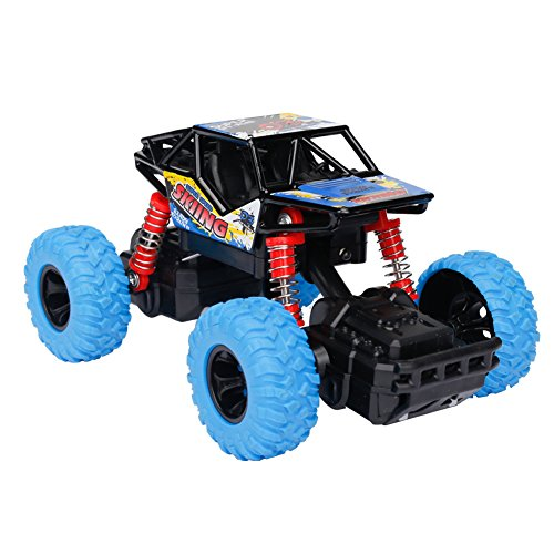Think Wing 4WD Pull Back Monster Trucks with Music & Light High Speed Die-cast Buggy Functions Toy Cars 4 Styles Collectable Off-Road Car Gift for Kids 1:32 Scale (Style 2(Blue)) (Sound Monster Truck)