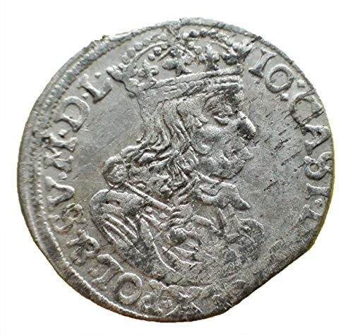 (1663 PL Poland under King John II Casimir Vasa Antique Authentic Silver Coin Polish Coins 6 Groschen)