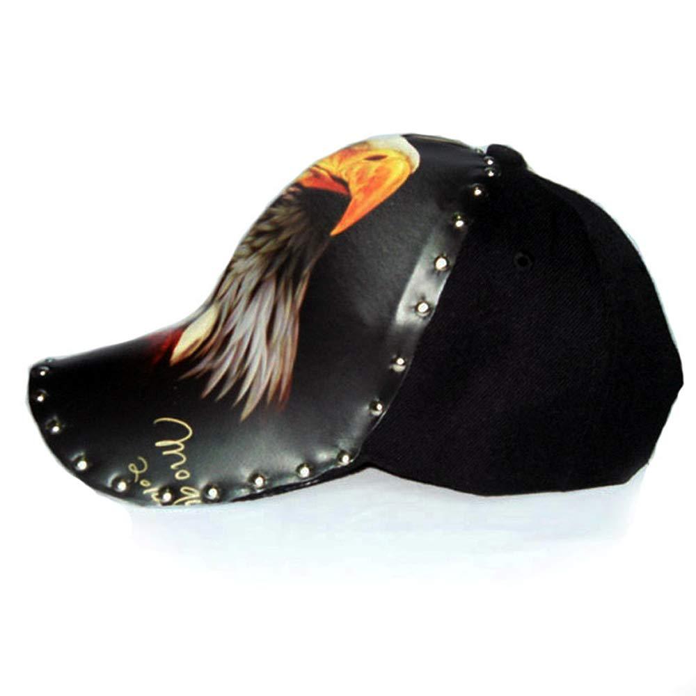 Color : Black, Size : One Size Baseball Cap Hip Hop Sun Hat with Crooked Wide Brim Cotton Adjustable Black Rivet 3D Printing Fashion Punk Hat