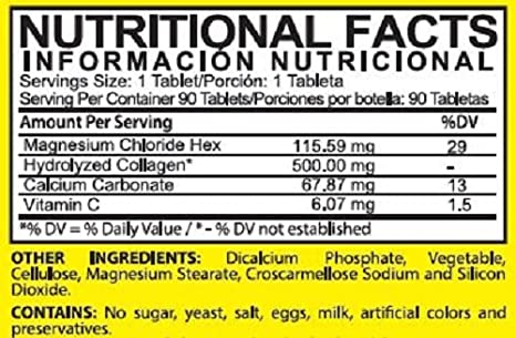 Amazon.com: Magnesium Chloride and 500 mg. Hydrolyzed Collagen - Dietary Supplement: Health & Personal Care