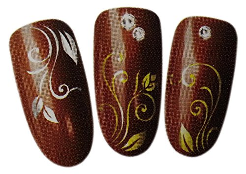 Lavish and Luxurious Floral Design Nail Art Wrap Water Transfer Decal Sticker for Natural/False Nails - SILVER