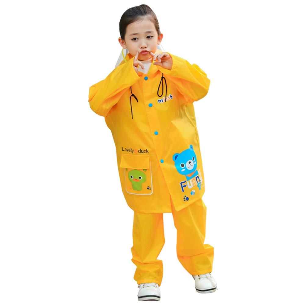 Impermeabile per bambini Grande Impermeabile del Ragazzo del Ragazzo del Bambino del Vestito del Ragazzo del Vestito del Ragazzo del Ragazzo (Color : Giallo, Dimensione : L) Geyao