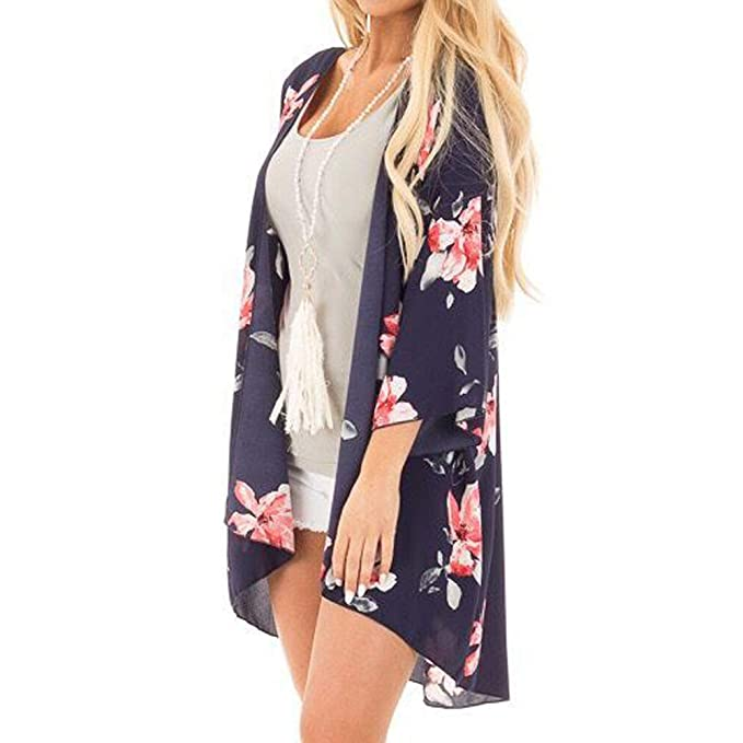 Amazon.com : Fashion Women Printed Pattern Tops Ladies Half Sleeve T-shirts Beachwear Ladies Bikini Cover Up Beach Wear Sunscreen Shirt Clearance Casual ...