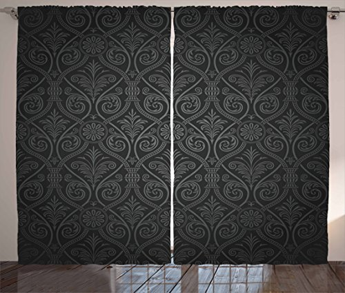 Ambesonne Damask Curtains, Antique Baroque Pattern with Mild Ombre Shade Gothic Victorian Style, Living Room Bedroom Window Drapes 2 Panel Set, 108 W X 84 L Inches, Sage Green Charcoal - Sage Victorian Panel