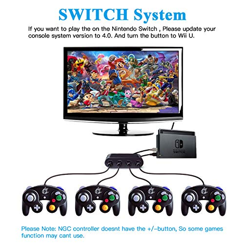 GameCube Controller Adapter, Gamecube Adapter for Switch, Wii U and PC USB,  Provide Best Super Smash Bros Game Experience Easy to Plug and No Driver