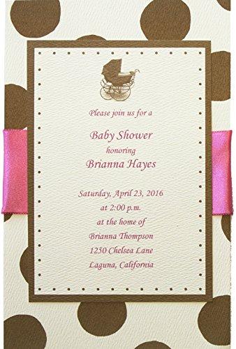 Pram White Baby Shower Invitations - 1