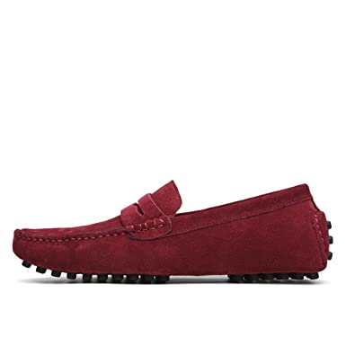 MUMUWU Mens Driving Penny Loafers Suede Genuine Leather Casual Moccasins Slip-On Boat Shoes Up