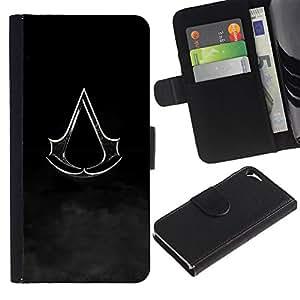 // PHONE CASE GIFT // Moda Estuche Funda de Cuero Billetera Tarjeta de crédito dinero bolsa Cubierta de proteccion Caso Apple Iphone 5 / 5S / Assassin Flag /