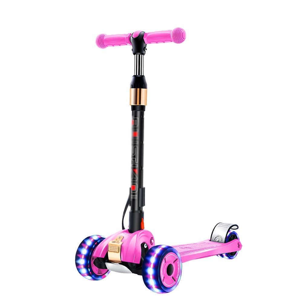 YXX- スクーター キックが付いている4つの点滅の車輪のスクーター、子供の年齢2-16のためのFoldinigスクーター、高さ調節可能、220 Lbの重量 (色 : Green) B07MPVN4XN Pink Pink