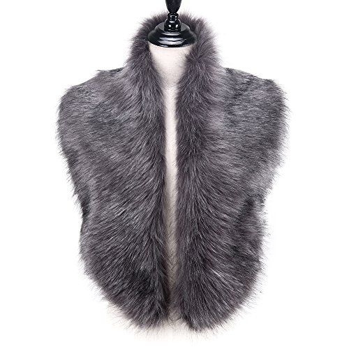 Long Collar Scarf - Caracilia Men Women Winter Warm Faux Fox Fur Collar Scarf Shawl Gray CA96