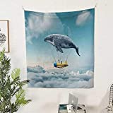 Airplane Decorwall Tapestry for bedroomDream Airship Fairy Fantasy Over The Clouds Cloudscape Whale Earth Planet 51W x 60L inch Beach tapestryGrey Yellow Blue