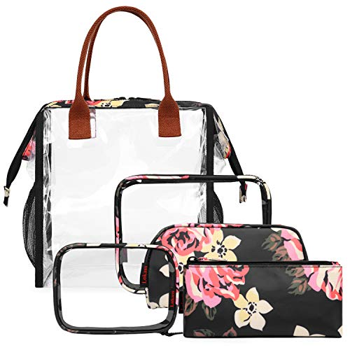 NiceEbag 5 in 1 Makeup Bag & Case Travel Cosmetic Bags Set Clear Toiletry Pouch for Women Girls, Peony