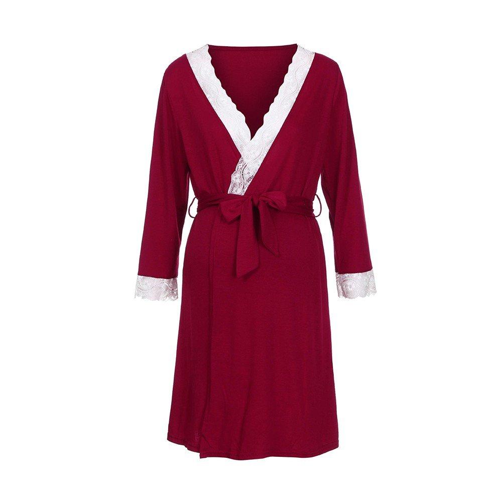 Elegante Vestido para Lactancia Mujer con Encaje Cuello Vestido con funci/ón de Lactancia 2019 Bata Bella Maternity Dress Suave Regalos para la Mujer