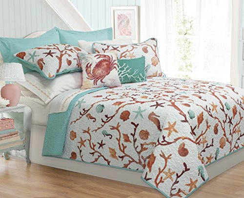 Safdie & Co. Collection Ocen Club 5 Piece Quilt and Sham Set, King,
